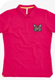 SUN68 Donna POLO BIG PATCH EL. Fuxia A30203