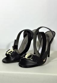 Versace Collection Donna Sandalo In Nappa Di Colore Nero Con Placca Medusa Oro Modello LSD5580