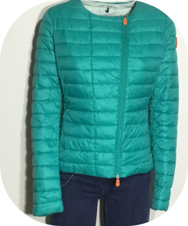 SAVE THE DUCK DONNA PIUMINO LEGGERO WOMAN VERDE EUCALIPTO D3239 GIGA